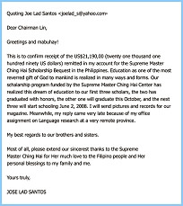 Thank you letter from Professor Joe Lad Santos for the Scholarship ...